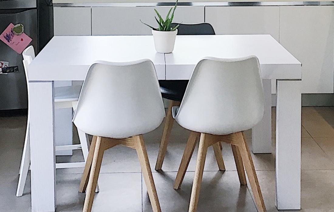 Tavolo in legno bianco con sedie con zampe in legno chiaro. Sul tavolo una pianta verde su vaso di ceramica