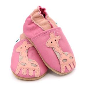 Scarpine morbide da neonato rosa con disegno di giraffa arancione